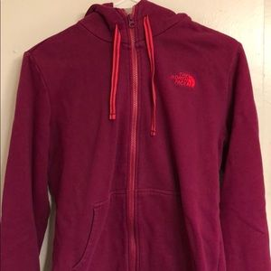 zippered North Face hoodie with pockets